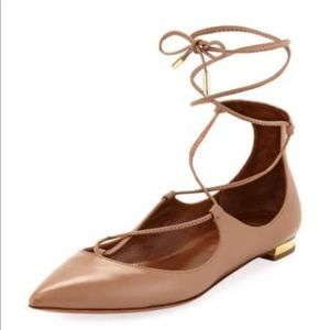 New Aquazzura Christy Lace-Up Pointed-Toe Flat